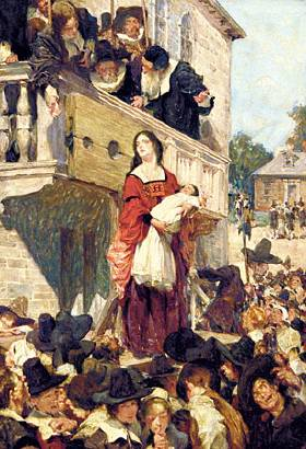 "hester prynne's road from shame to Convicted of adultery, hester prynne is sentenced to wear a scarlet ""a"" affixed to   make way  this woman has brought shame upon us all and ought to die."
